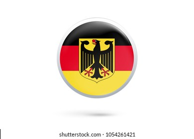Icon representing button flag of Germany on white background,Vector illustration