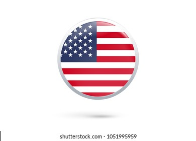 Icon representing button flag of United States on white background,vector illustration