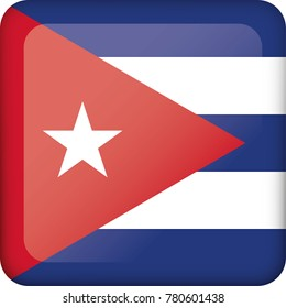 Icon representing Cuba square button flag. Ideal for catalogs of institutional materials and geography