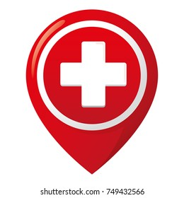 Icon representing health location, hospital or pharmacy. Ideal for medical and institutional materials