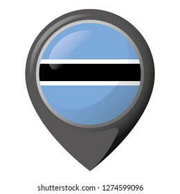 Icon representing pin of location with the flag of Botswana. Ideal for catalogs of institutional materials and geography