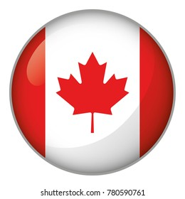 Icon representing round button flag of Canada. Ideal for catalogs of institutional materials and geography