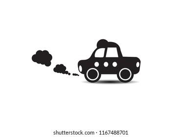 Icon retro car black with smoke on white background.Set of vintage car  cartoon.Vector Illustration EPS 10.