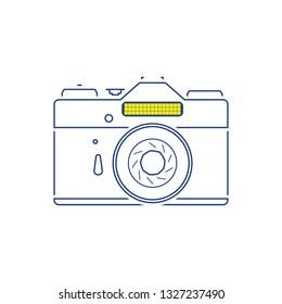 Icon of retro film photo camera. Thin line design. Vector illustration.