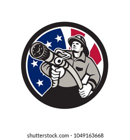 Icon retro style illustration of American firefighter or fireman holding a fire hose front view with United States of America USA star spangled banner or stars and stripes flag inside circle isolated