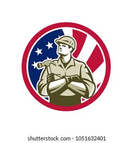 Icon retro style illustration of American builder, carpenter, construction worker with hammer arms crossed  with United States of America USA star spangled banner or stars and stripes flag in circle.