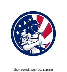 Icon retro style illustration of an American DIY Expert, handyman, carpenter, DIYer or renovator with tools United States of America USA star spangled banner or stars and stripes flag inside circle.