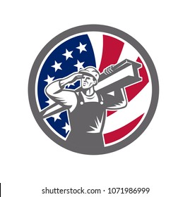 Icon retro style illustration of an American construction worker carrying an I-beam on shoulder and saluting with United States of America USA star spangled banner or stars and stripes flag in circle.