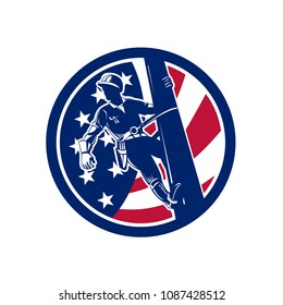 Icon retro style illustration of an American Electrical Power Lineman or lineworker on utility pole with United States of America USA star spangled banner or stars and stripes flag inside circle.