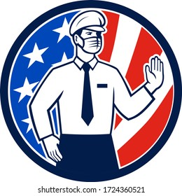 Icon retro style illustration of an American immigration officer wearing face mask putting hand out to stop entry set in circle with USA stars and stripes flag on isolated white background.