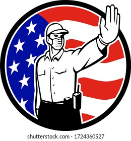 Icon retro style illustration of an American border security patrol officer wearing face mask putting hand out to stop entry set in circle with USA stars and stripes flag on isolated white background.