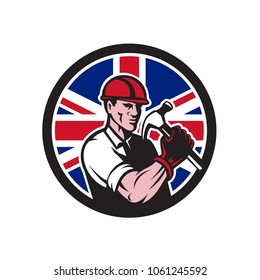 Icon retro style illustration of a British handyman, builder, carpenter or construction worker holding hammer with United Kingdom UK, Great Britain Union Jack flag set inside circle.