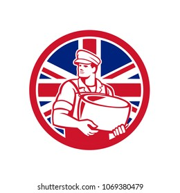 Icon retro style illustration of a British artisan cheesemaker or cheese maker holding Parmesan cheese with United Kingdom UK, Great Britain Union Jack flag set inside circle on isolated background.