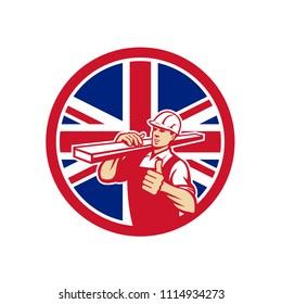 Icon retro style illustration of a British lumber yard or lumberyard worker thumbs up with United Kingdom UK, Great Britain Union Jack flag set inside circle on isolated background.