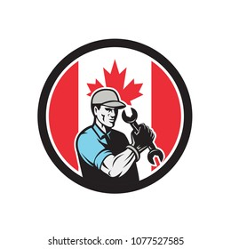 Icon retro style illustration of a Canadian auto mechanic or industrial maintenance mechanic holding wrench with Canada maple leaf flag set inside circle on isolated background.
