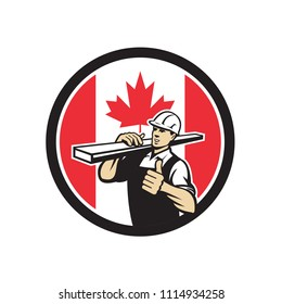 Icon retro style illustration of a Canadian lumber yard or lumberyard worker thumbs up with Canada maple leaf flag set inside circle on isolated background.