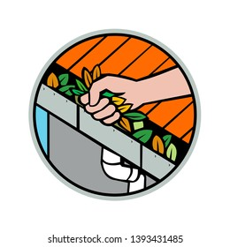 Icon retro style illustration of a hand cleaning a roof gutter, guttering, rain gutter, eavestrough or surface water collection channel clogged with leaves set inside circle on isolated background.