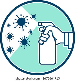 Icon retro style illustration of a hand spraying disinfectant spray on coronavirus,  COVID-19 or influenza virus microscopic cell set inside circle on isolated background.
