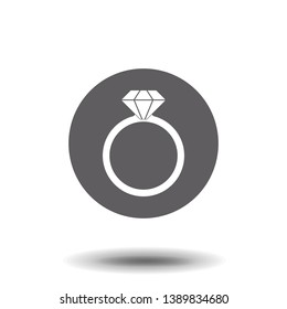 Icon of ring with diamond or other gem. Engagement or marriage ring, expensive jewelry. Vector Illustration