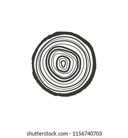 The icon of the rings of a tree. Simple vector illustration.