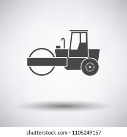 Icon of road roller on gray background, round shadow. Vector illustration.