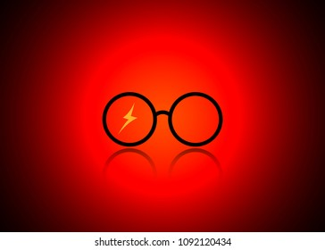 icon of a round glasses, Harry Potter style, vector isolated or red vignetting background