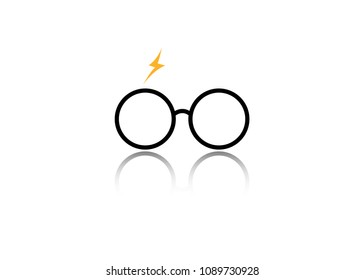 icon of a round glasses, minimal style, vector isolated