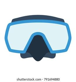 Icon of scuba mask . Flat color design. Vector illustration.