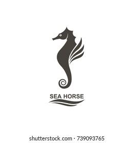 icon of seahorse on isolated white background