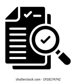 Icon of search documents, solid design
