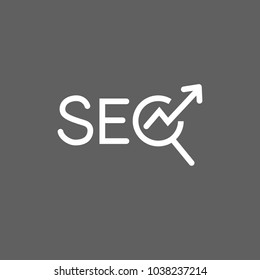 Icon of SEO lettering with magnifier and arrow. Internet, search system, optimization. Online marketing concept. Can be used for topics like internet, marketing, advertising.