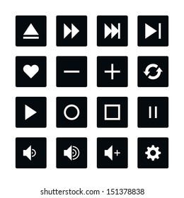 Icon set 06 media player control button. White pictogram on black rounded square button. Solid plain monochrome flat tile. Simple contemporary style. Web design element vector illustration save 8 eps