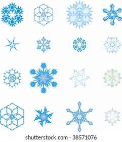icon set of 16 different snowflakes and symbols