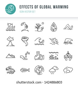 Icon set of 20 pieces of vector icons isolated on a white background in a linear style on the theme of the effect of global pollution, bad ecology, problems of the planet.