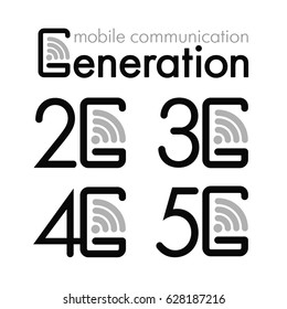 Icon set 2G, 3G, 4G and 5G. Symbols of the mobile generation. Vector illustration.
