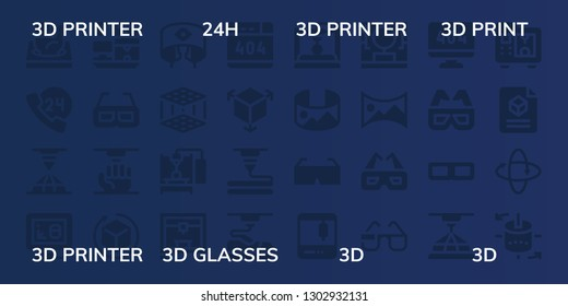 icon set. 32 filled  icons. on blue background style Simple modern icons about - 3d printer, 24h, 3d print, 3d glasses, 360 panorama, panorama 360 printing scanner