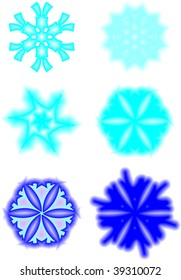 icon set of 6 different snowflakes and symbols