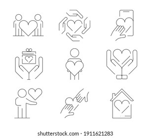 Icon set of 9, such as couple, romantic hands and gift box. Valentine's day symbols icon set. Quality design elements. Editable contour. Modern line art icon.