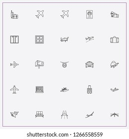 icon set about airport with keywords automatic doors, airstrip and travel fly