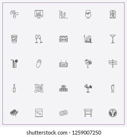 icon set about bar with keywords drink shaker, percentage graph and street singboard