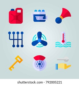 Icon set about Car Engine. with motor, jerry can and key