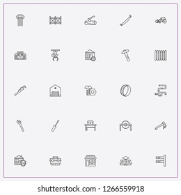 icon set about construction with keywords gas wrench, eletric train and hatchet