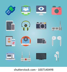 Icon set about Devices. with devises, notebook and social website