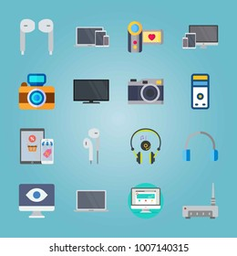 Icon set about Devices. with photo camera, devices and eye