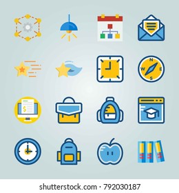 Icon set about Education And School. with lamp, email and school backpack