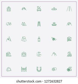 icon set about landscape with keywords rear view mirror, japanese temple and night stars view