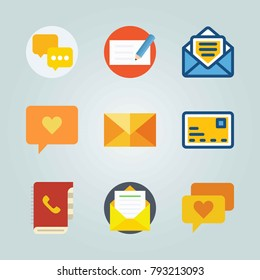 Icon set about Letter And Paper. with internet chat, agenda and mail