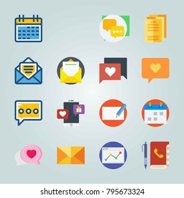 Icon set about Letter And Paper. with check, message and internet chat