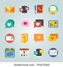 Icon set about Letter And Paper. with papers, audio chat and schedule