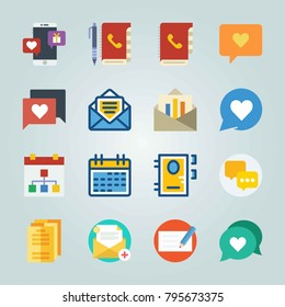 Icon set about Letter And Paper. with schedule, chat and check